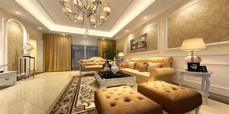 简欧风格三室一厅客厅装修效果图片