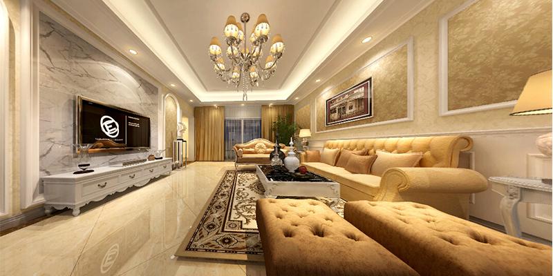 簡歐風格三室一廳客廳電視背景墻裝修效果圖片