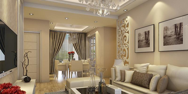 欧式风格渝高香洲三室一厅客厅装修效果图片