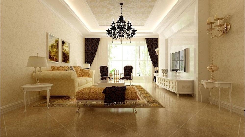 欧式风格三室一厅简欧设计风格客厅装修效果图片