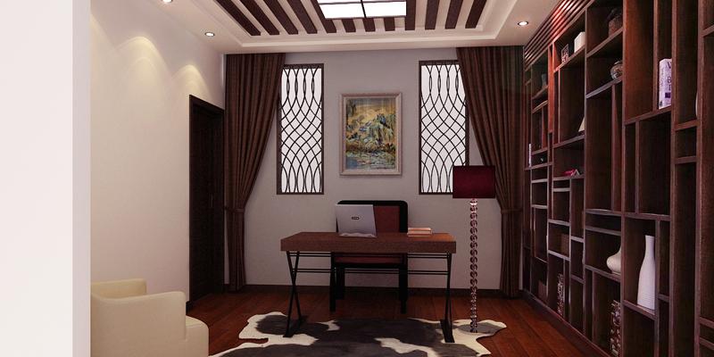 中式简约风格华润二十四城别墅装修案例效果图片