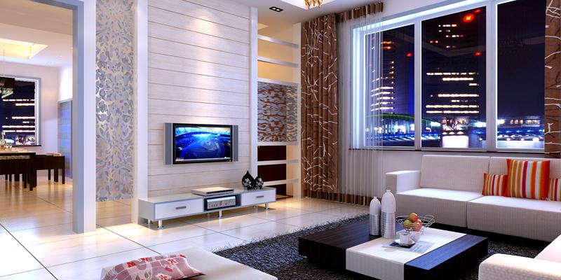 现代简约风格三室两厅家庭装修案例效果图片
