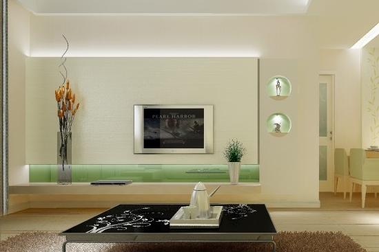 今天 重庆港宏装修设计公司小编就 家庭客厅影视墙装修效果图分享给大