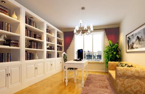 书房白色调的书柜,给人一种欧式的典雅气息,强大的收纳功能