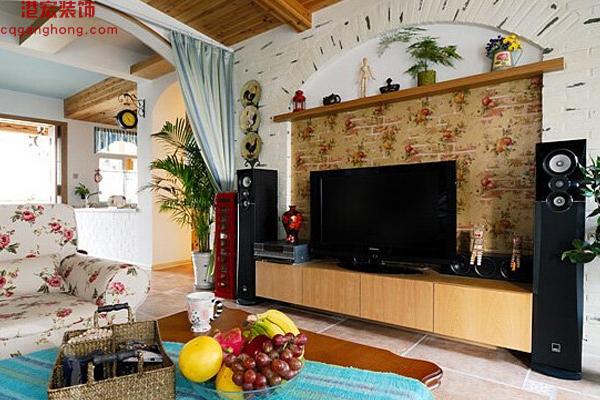 重庆港宏装修设计公司——美式田园风格背景墙效果图
