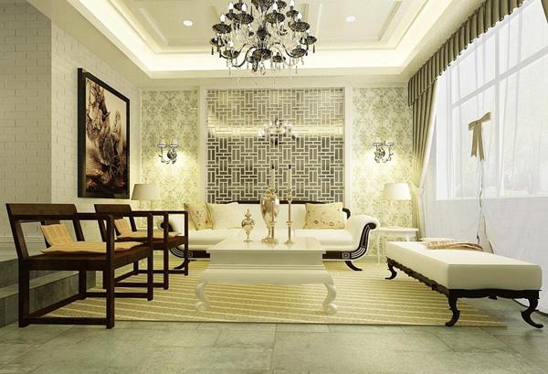 象牙白简欧风格,客厅整体装修设计效果图