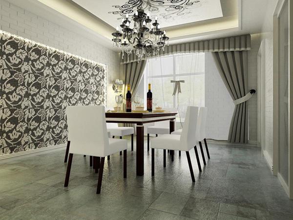 象牙白简欧风格,餐厅花色吊顶设计效果图