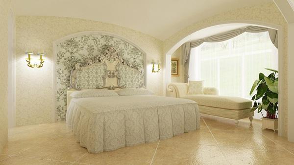 欧洲皇室十字绣,象牙白简欧风格卧室床头背景墙设计